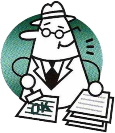 cartoon man in a hat with glasses, stamping 'ok' on paperwork