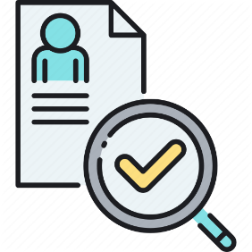 Icon of a paper with person pic, magnifier and tick symbol